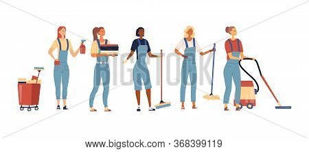 Cleaning Service Concept. Set Of Women In Uniform With Professional Tools For Cleaning And Wash. Mul