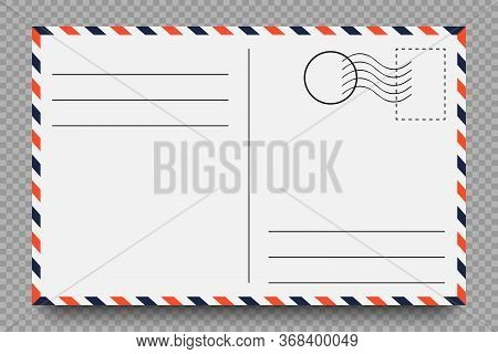Postcard. Vintage Postcard With Place For Stamp And Address. Template On Transparent Background With