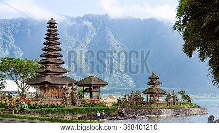 Bedugul, Indonesia - 22 Nov 2018: Two Spires Of The Floating Pura Bratan Hindu Temple On Lake Bratan