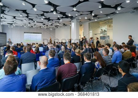 Moscow, Russia - April 19, 2018: Audience listens lecturer at workshop in conference hall