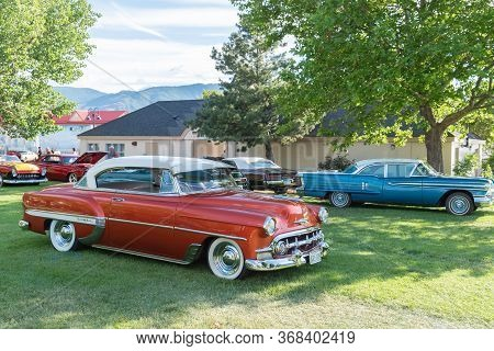 Penticton, British Columbia/canada - June 22, 2019: 1954 Chevrolet Bel Air Hard Top On Display At Th