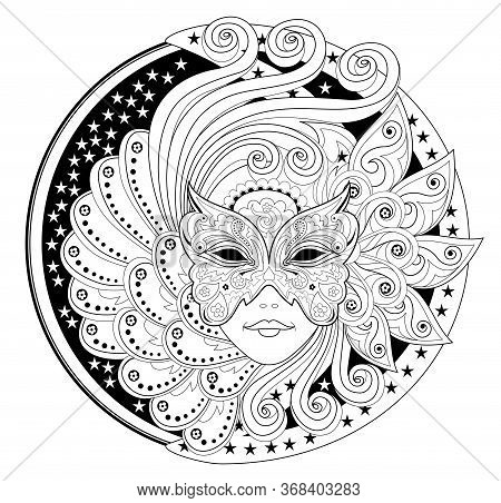 Medallion With Portrait Of Fairy In Carnival Mask. Fantasy Drawing Of Beautiful Girl. Black And Whit