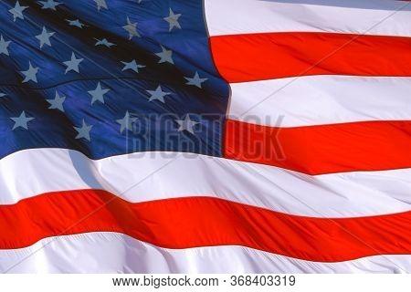 American Flag Background: American Flag Usa Close Up Waving Background Texture. American Flag Waving