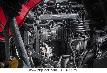 Modern Powerful Semi Truck Turbo Diesel Engine Close Up. Transportation Industry.