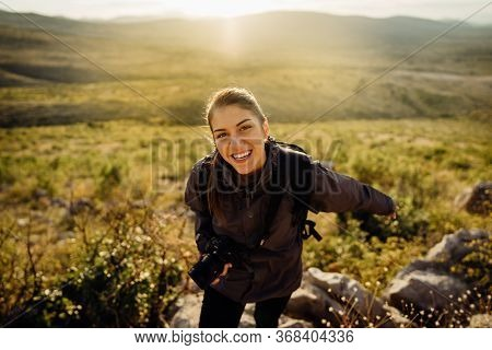 Woman Tourist Hiker Visiting A Mountain National Park Trail.adventure Tourist Landscape Photographer