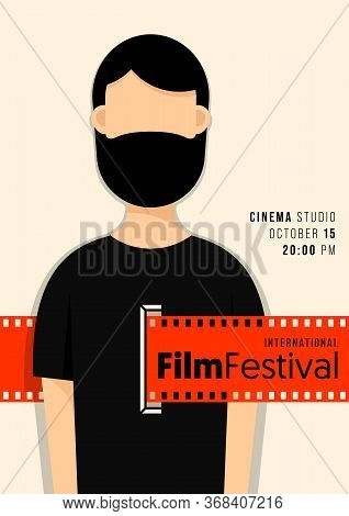 Movie And Film Poster Design Template Background Modern Vintage Style With Filmstrip. Design Element