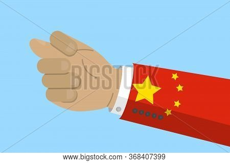 Hand Gesture Of Fig Sign With Flag Of China. Chinese Conflict Concept. Stock Vector Illustration In