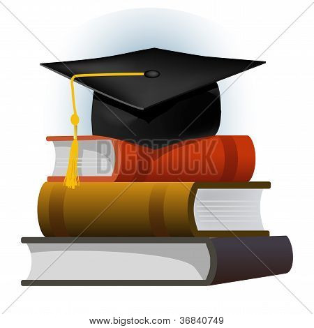 Books With The Graduation Cap