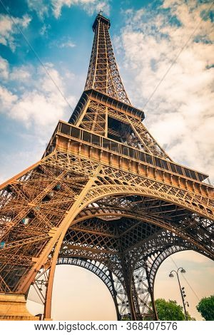 Eiffel Tower over blue sky in Paris, France