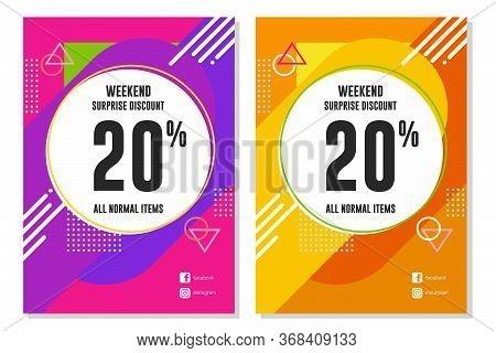 Weekend Sale banner design template, Weekend Sale advertising banner, special weekend offer, vector illustration.