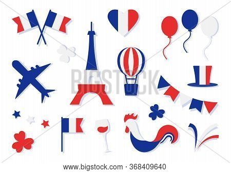 France Collection. Bastille Day. Blue, White And Red National Colors. Flags, Heart, Stars, Eiffel To
