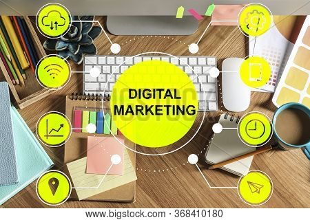 Digital Marketing Strategy. Workplace With Modern Computer, Flat Tay