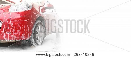 Red Auto With Foam At Car Wash, Space For Text. Banner Design
