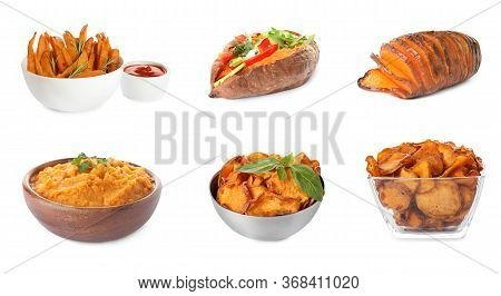 Set Of Delicious Cooked Sweet Potatoes On White Background