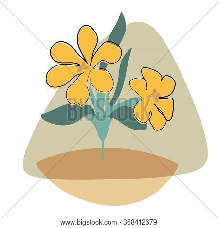 Tropical Flower, Continuous Line Drawing Vector. Graphical Flower Illustration. Green Flower, White