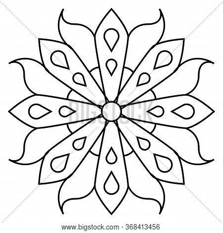 Outline Of A Floral Pattern Mandala - Vector