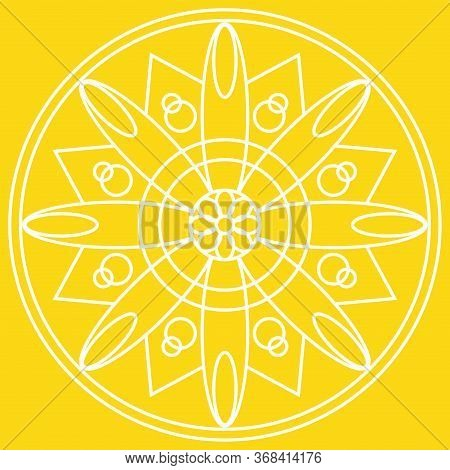 Outline Of A Floral Pattern Mandala Over A Colored Background - Vector