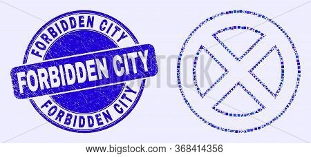 Geometric Forbidden Mosaic Icon And Forbidden City Stamp. Blue Vector Round Scratched Stamp With For