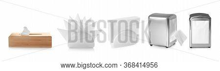 Set Of Different Modern Napkin Holders With Paper Serviettes On White Background. Banner Design