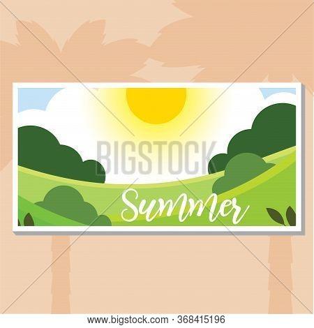 Summer Landscapes With Sunset. Natural Landscape Poster - Vector