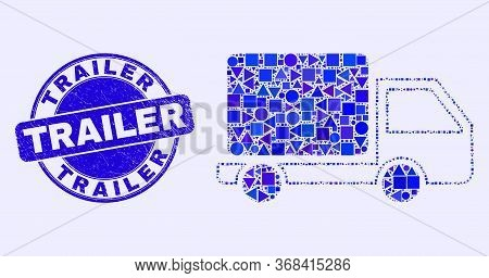 Geometric Lorry Mosaic Pictogram And Trailer Seal Stamp. Blue Vector Round Scratched Stamp With Trai