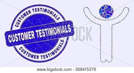 Geometric Hands Up Person Mosaic Icon And Customer Testimonials Stamp. Blue Vector Round Grunge Stam