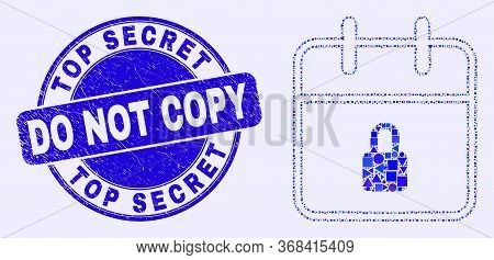 Geometric Lock Calendar Page Mosaic Pictogram And Top Secret Do Not Copy Stamp. Blue Vector Round Di