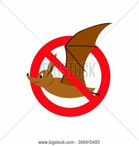 The Bat Is Banned. Vector Image Of A Bat For Banner, Illustration, Background, Card, Book Illustrati