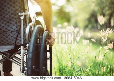 Close Up Of Hands Disabled Woman Sitting On Wheelchair At Nature In The Morning