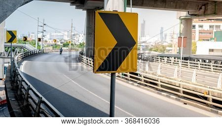 Street Arrow Sign With Direction Way On The Express Way, High Speed And The Road For Driver Use It.