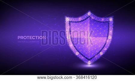 Security Shield. Protection Or Safe Business Concept. Cyber Security And Information Or Network Safe