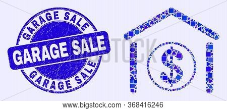 Geometric Dollar Garage Bank Mosaic Pictogram And Garage Sale Seal. Blue Vector Round Scratched Seal