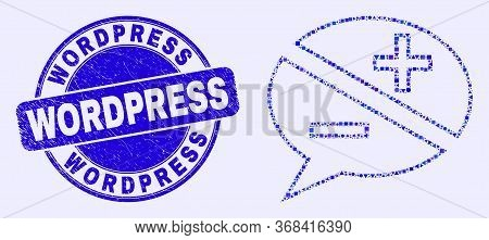 Geometric Discussion Messages Mosaic Icon And Wordpress Seal. Blue Vector Round Textured Seal Stamp