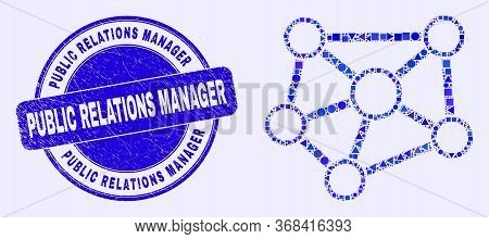 Geometric Relations Mosaic Icon And Public Relations Manager Stamp. Blue Vector Round Textured Seal