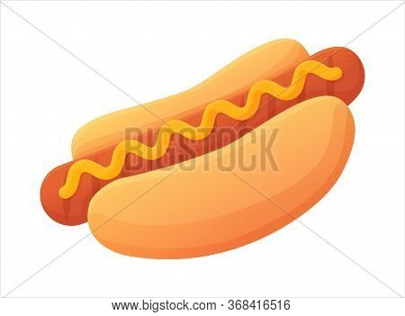 Tasty Bright Hot Dog Symbol. Grilled Sausage On Bun With Mustard. Fast Food Concept. Can Be Used For