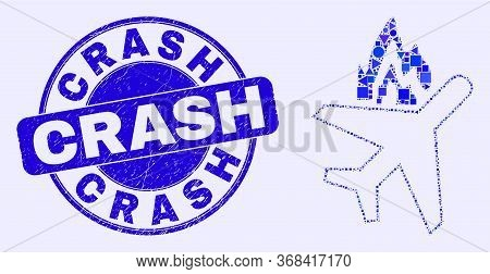 Geometric Airplane Crash Mosaic Icon And Crash Seal Stamp. Blue Vector Round Distress Stamp With Cra