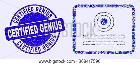 Geometric Certificate Mosaic Icon And Certified Genius Seal. Blue Vector Round Distress Seal With Ce