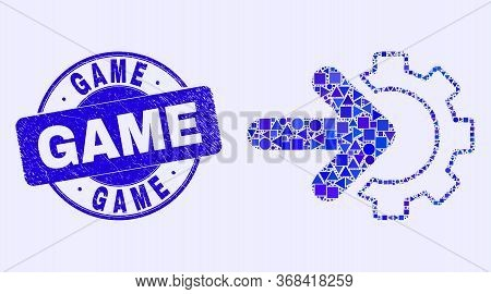 Geometric Integration Gear Mosaic Icon And Game Seal Stamp. Blue Vector Rounded Distress Seal Stamp
