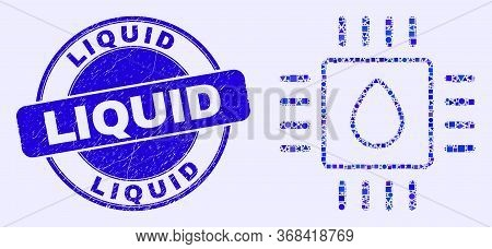 Geometric Liquid Processor Mosaic Pictogram And Liquid Seal Stamp. Blue Vector Rounded Scratched Sta