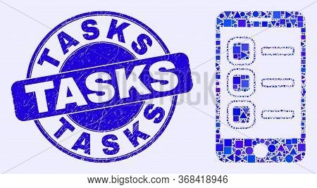 Geometric Smartphone Tasks Mosaic Icon And Tasks Seal Stamp. Blue Vector Rounded Grunge Stamp With T