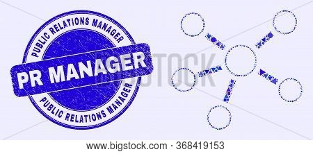 Geometric Relations Mosaic Icon And Public Relations Manager Pr Manager Seal Stamp. Blue Vector Roun