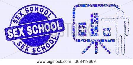 Geometric Bar Chart Presentation Mosaic Pictogram And Sex School Seal. Blue Vector Round Textured Se