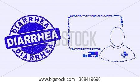 Geometric Computer Doctor Mosaic Icon And Diarrhea Seal Stamp. Blue Vector Round Distress Seal Stamp