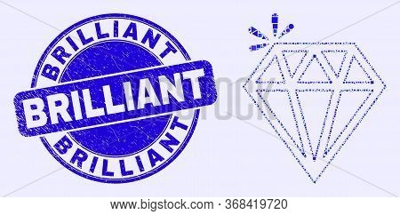 Geometric Spark Brilliant Mosaic Icon And Brilliant Seal Stamp. Blue Vector Round Grunge Seal With B