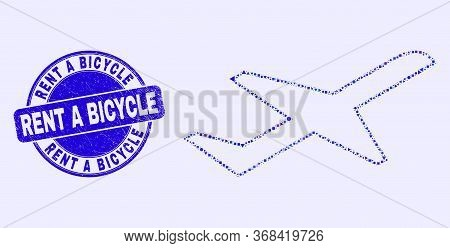 Geometric Airplane Takeoff Mosaic Icon And Rent A Bicycle Watermark. Blue Vector Round Grunge Waterm