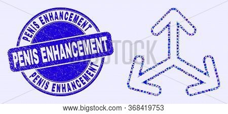 Geometric Expand Arrows Mosaic Icon And Penis Enhancement Seal Stamp. Blue Vector Round Distress Sea
