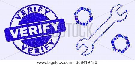 Geometric Wrench And Nuts Mosaic Icon And Verify Seal Stamp. Blue Vector Round Distress Seal Stamp W
