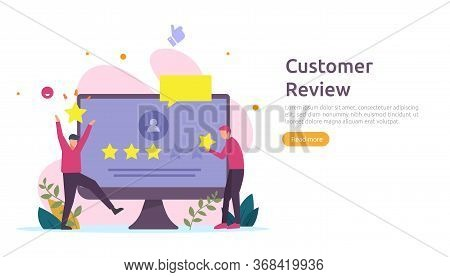 Costumer Review Rating Concept. People Character Giving Feedback Evaluation. Satisfaction Level And