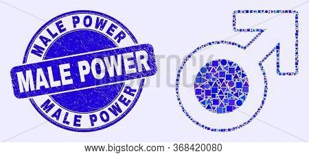 Geometric Male Symbol Mosaic Pictogram And Male Power Seal Stamp. Blue Vector Rounded Distress Seal
