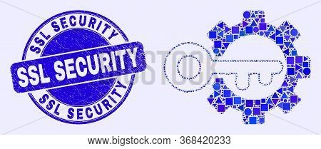 Geometric Key Options Gear Mosaic Pictogram And Ssl Security Seal Stamp. Blue Vector Round Grunge Se